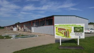 Hangars under construction at Pearland Regional Airport.